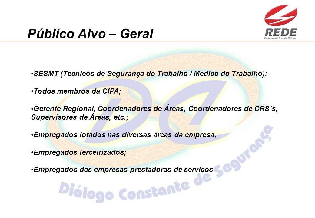 Público Alvo – Geral SESMT (Técnicos de Segurança do Trabalho / Médico do Trabalho); Todos membros da CIPA; Gerente Regional, Coordenadores de Áreas,