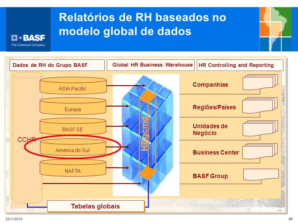 25 22/11/2014 25 HR Controlling and Reporting Companhias Business Center Regiões/Países BASF Group Unidades de Negócio Global HR Business WarehouseHRg