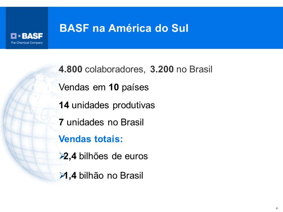 4 BASF na América do Sul 4.800 colaboradores, 3.200 no Brasil Vendas em 10 países 14 unidades produtivas 7 unidades no Brasil Vendas totais:  2,4 bil