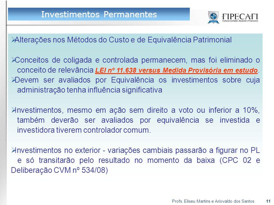 Profs. Eliseu Martins e Ariovaldo dos Santos11  Alterações nos Métodos do Custo e de Equivalência Patrimonial  Conceitos de coligada e controlada pe