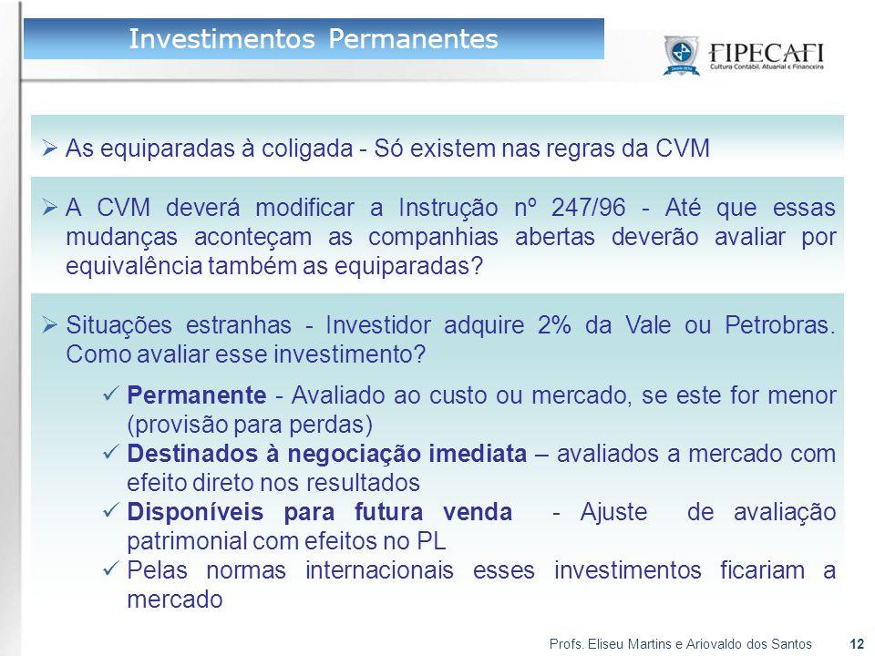 Profs. Eliseu Martins e Ariovaldo dos Santos12  As equiparadas à coligada - Só existem nas regras da CVM Investimentos Permanentes  A CVM deverá mod