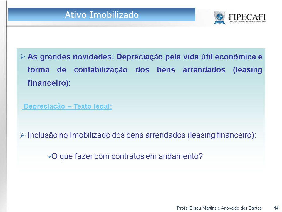 Profs. Eliseu Martins e Ariovaldo dos Santos14  As grandes novidades: Depreciação pela vida útil econômica e forma de contabilização dos bens arrenda
