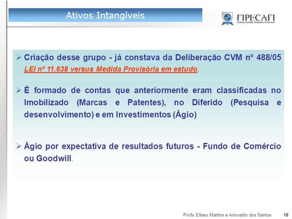 Profs. Eliseu Martins e Ariovaldo dos Santos16  Criação desse grupo - já constava da Deliberação CVM nº 488/05 LEI nº 11.638 versus Medida Provisória