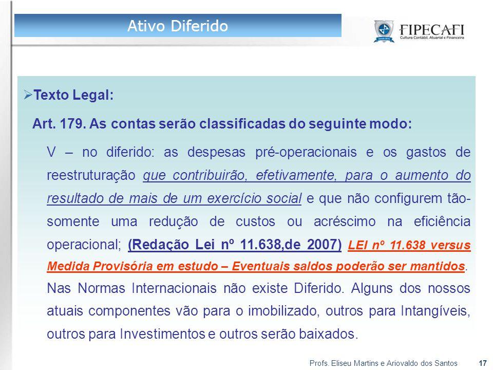 Profs. Eliseu Martins e Ariovaldo dos Santos17  Texto Legal: Art. 179. As contas serão classificadas do seguinte modo: V – no diferido: as despesas p