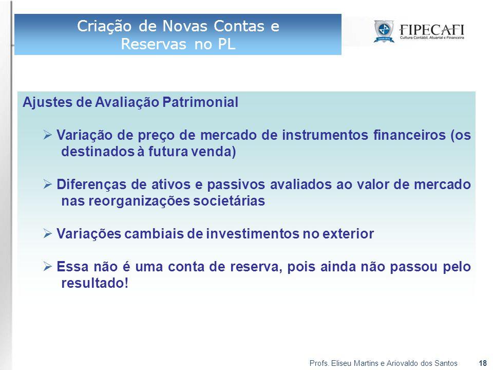 Profs. Eliseu Martins e Ariovaldo dos Santos18 Ajustes de Avaliação Patrimonial  Variação de preço de mercado de instrumentos financeiros (os destina