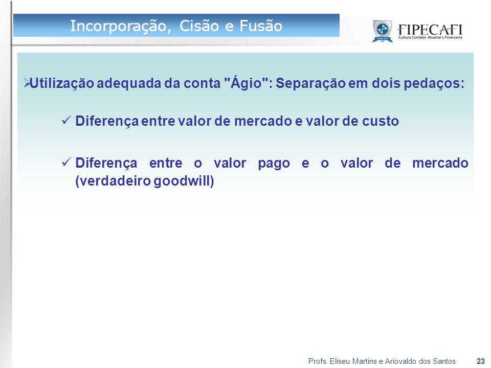 Profs. Eliseu Martins e Ariovaldo dos Santos23  Utilização adequada da conta