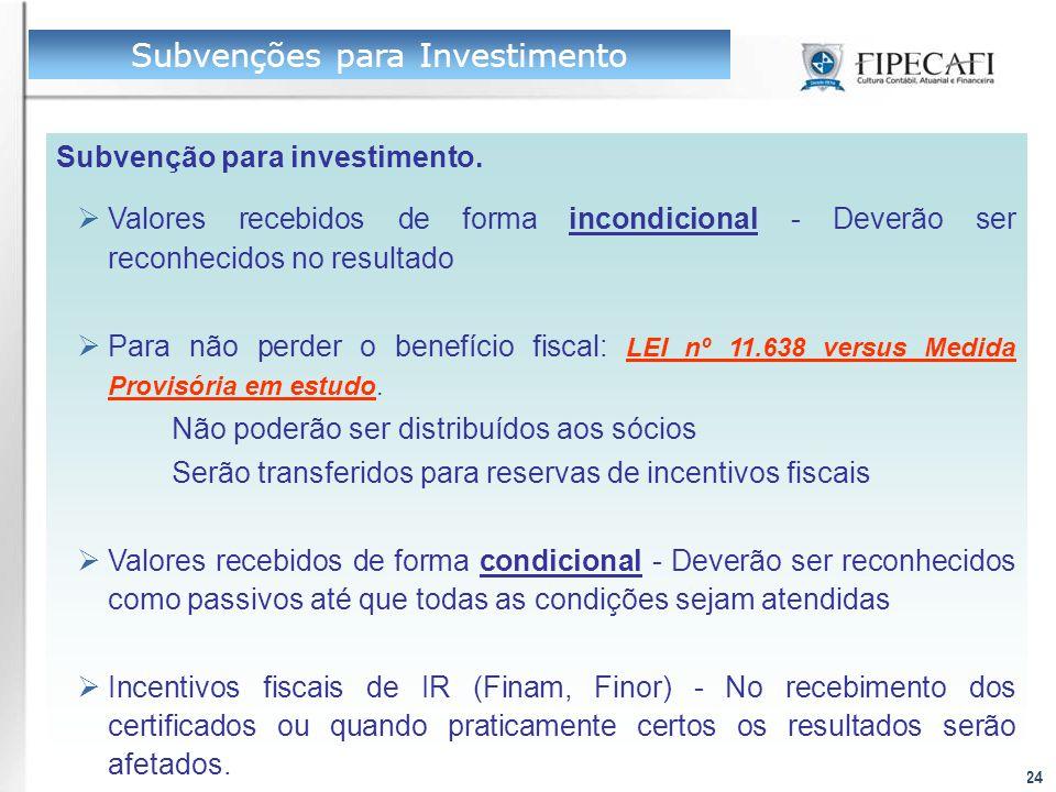 Profs. Eliseu Martins e Ariovaldo dos Santos24 Subvenção para investimento.  Valores recebidos de forma incondicional - Deverão ser reconhecidos no r