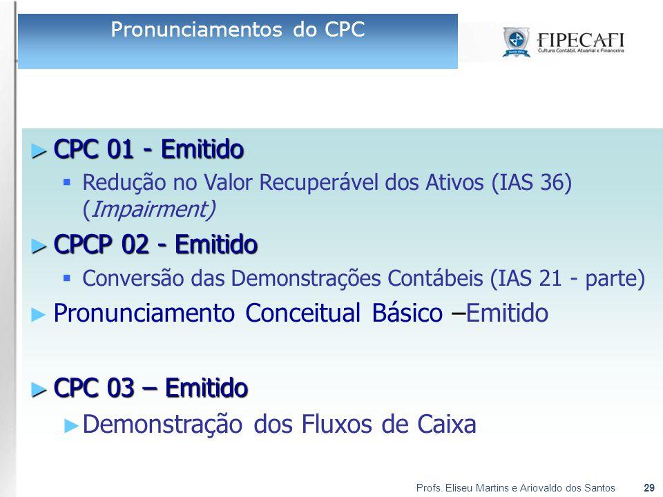 Profs. Eliseu Martins e Ariovaldo dos Santos29 ► CPC 01 - Emitido  Redução no Valor Recuperável dos Ativos (IAS 36) (Impairment) ► CPCP 02 - Emitido
