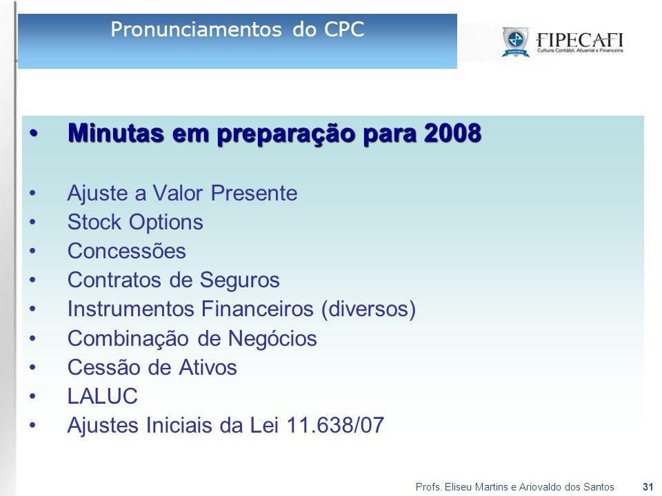 Profs. Eliseu Martins e Ariovaldo dos Santos31 Minutas em preparação para 2008Minutas em preparação para 2008 Ajuste a Valor Presente Stock Options Co