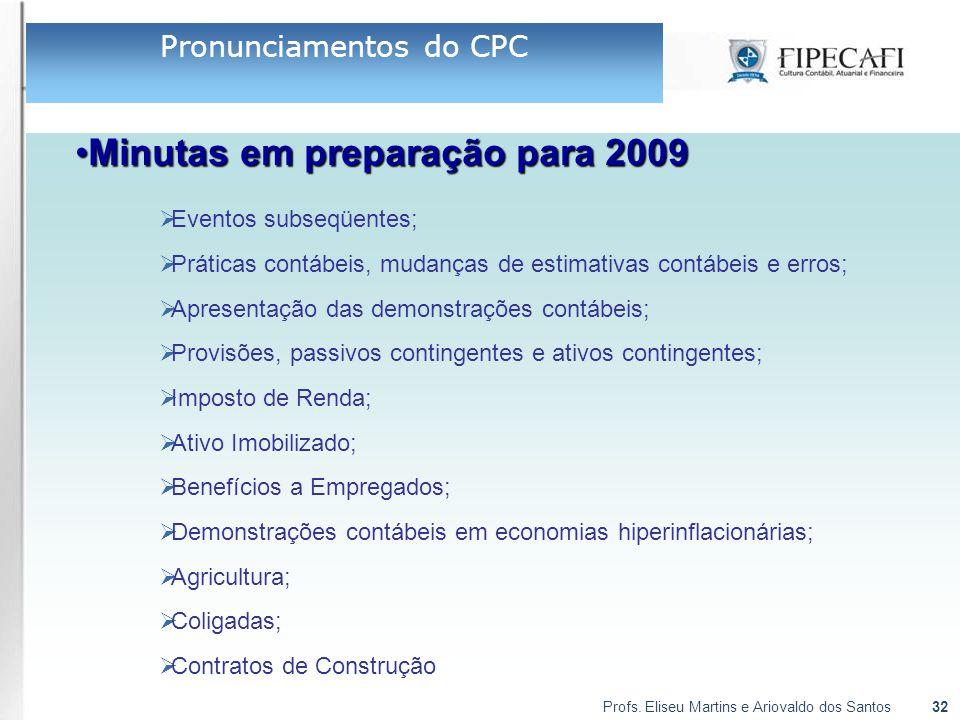 Profs. Eliseu Martins e Ariovaldo dos Santos32 Minutas em preparação para 2009Minutas em preparação para 2009  Eventos subseqüentes;  Práticas contá