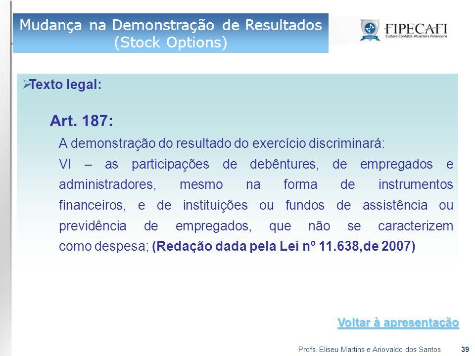 Profs. Eliseu Martins e Ariovaldo dos Santos39  Texto legal: Art. 187: A demonstração do resultado do exercício discriminará: VI – as participações d