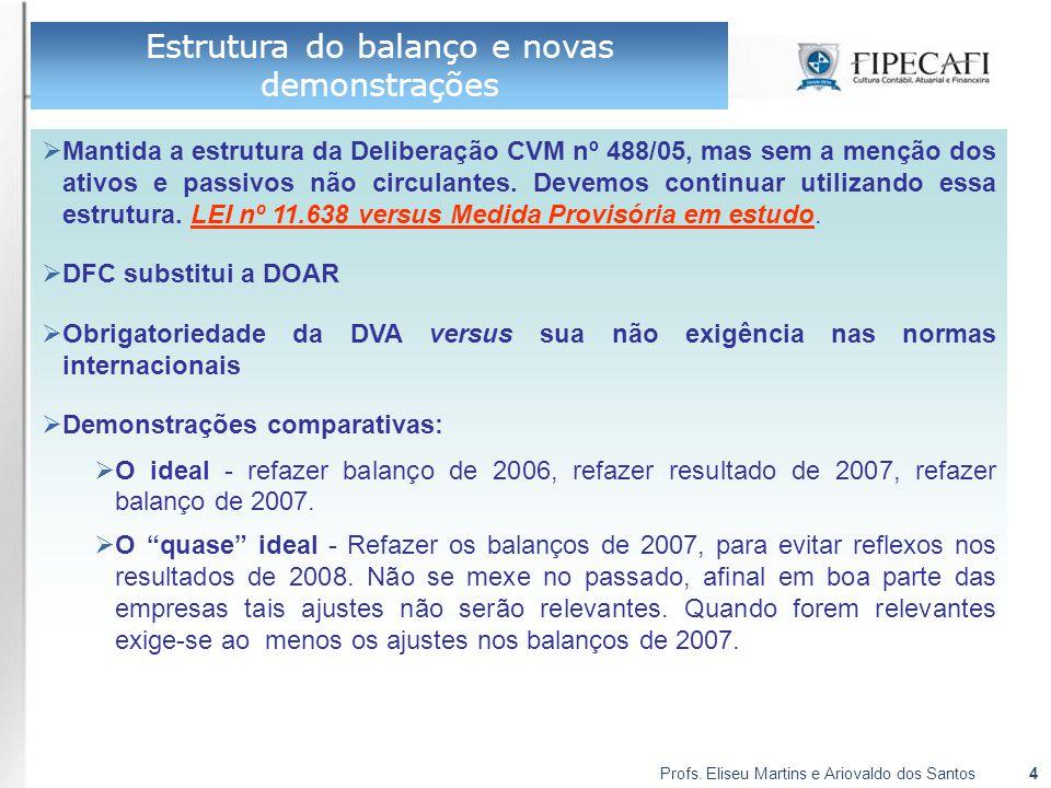 Profs. Eliseu Martins e Ariovaldo dos Santos4 Estrutura do balanço e novas demonstrações  Mantida a estrutura da Deliberação CVM nº 488/05, mas sem a