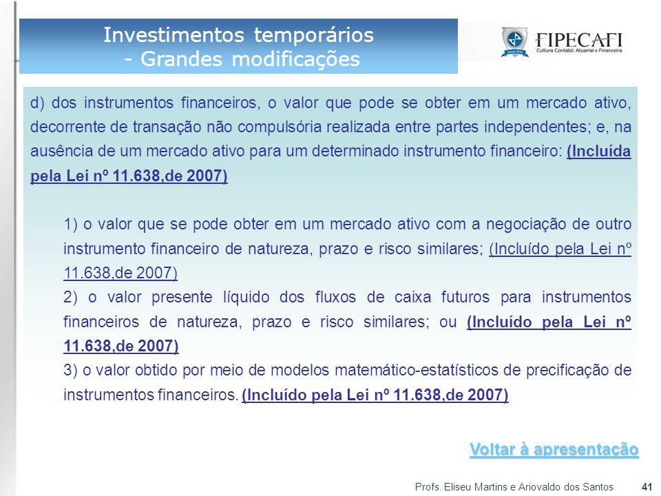 Profs. Eliseu Martins e Ariovaldo dos Santos41 Investimentos temporários - Grandes modificações d) dos instrumentos financeiros, o valor que pode se o
