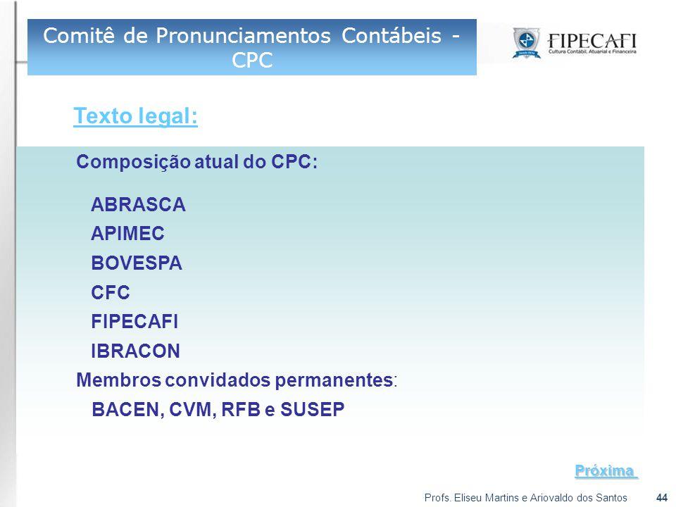 Profs. Eliseu Martins e Ariovaldo dos Santos44 Composição atual do CPC: ABRASCA APIMEC BOVESPA CFC FIPECAFI IBRACON Membros convidados permanentes: BA