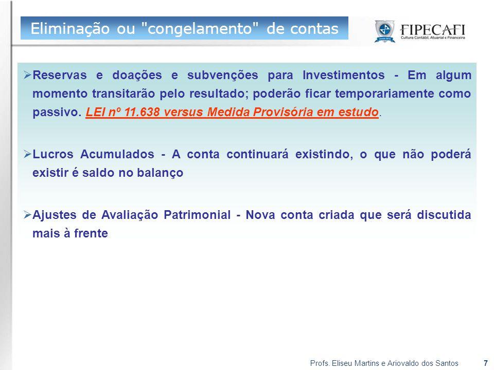Profs. Eliseu Martins e Ariovaldo dos Santos7 Eliminação ou