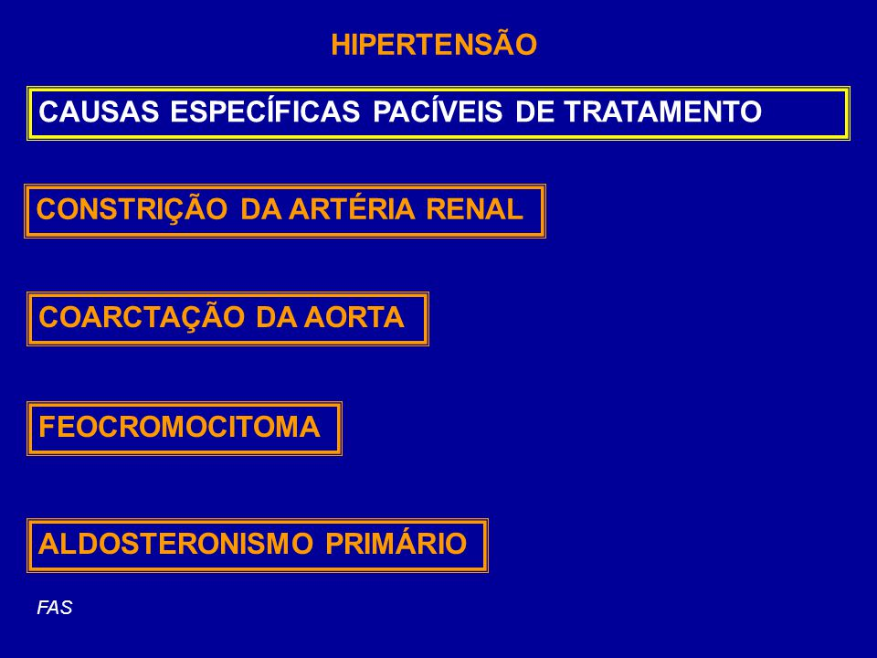 HIPERTENSÃO CAUSAS ESPECÍFICAS PACÍVEIS DE TRATAMENTO CONSTRIÇÃO DA ARTÉRIA RENAL COARCTAÇÃO DA AORTA FEOCROMOCITOMA ALDOSTERONISMO PRIMÁRIO FAS