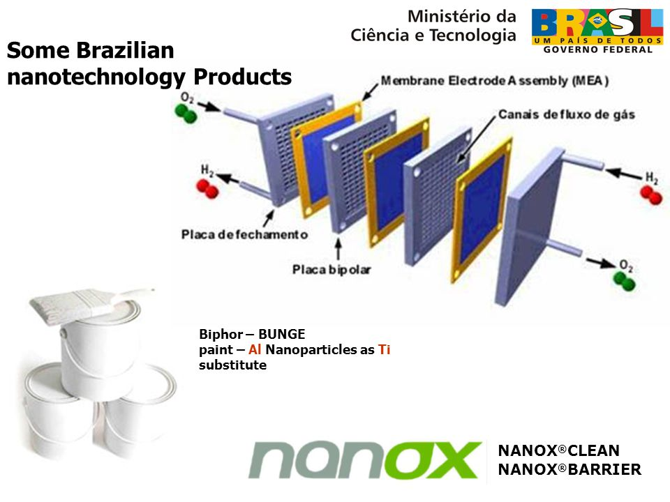 Biphor – BUNGE paint – Al Nanoparticles as Ti substitute Célula de combustível NANOX ® BARRIER NANOX ® CLEAN Some Brazilian nanotechnology Products