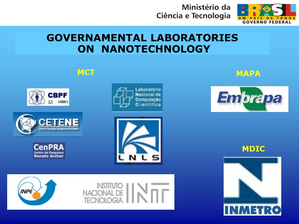 GOVERNAMENTAL LABORATORIES ON NANOTECHNOLOGY MCT MDIC MAPA