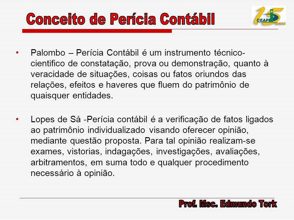 Palombo – Perícia Contábil é um instrumento técnico- cientifico de constatação, prova ou demonstração, quanto à veracidade de situações, coisas ou fat