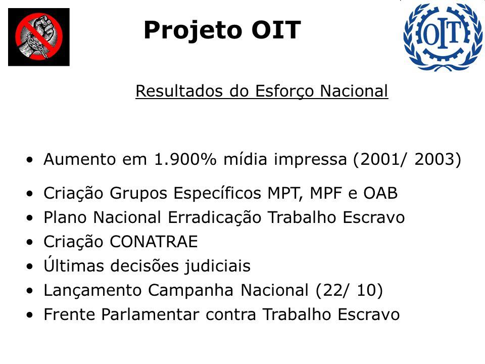 Resultados do Esforço Nacional Aumento em 1.900% mídia impressa (2001/ 2003) Criação Grupos Específicos MPT, MPF e OAB Plano Nacional Erradicação Trab