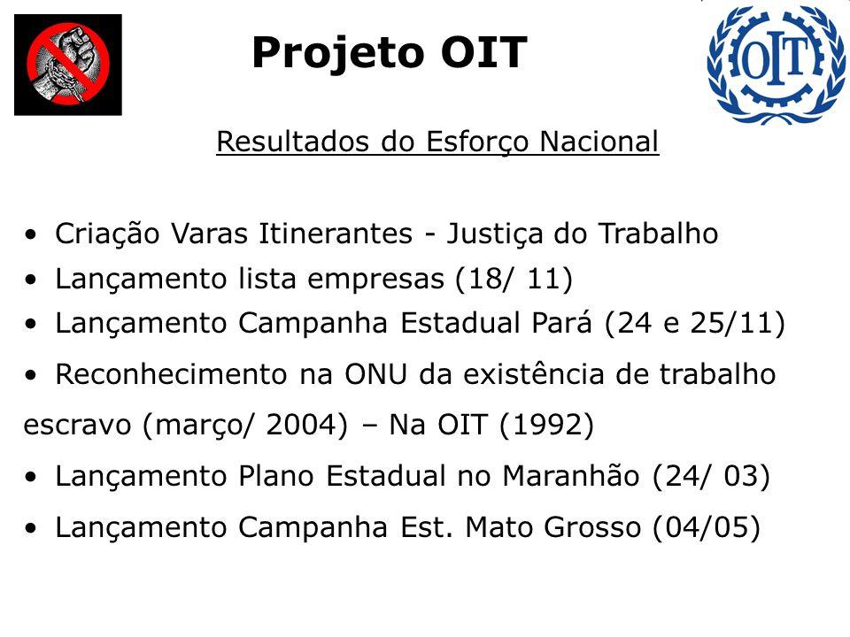 Projeto OIT Resultados do Esforço Nacional Criação Varas Itinerantes - Justiça do Trabalho Lançamento lista empresas (18/ 11) Lançamento Campanha Estadual Pará (24 e 25/11) Reconhecimento na ONU da existência de trabalho escravo (março/ 2004) – Na OIT (1992) Lançamento Plano Estadual no Maranhão (24/ 03) Lançamento Campanha Est.