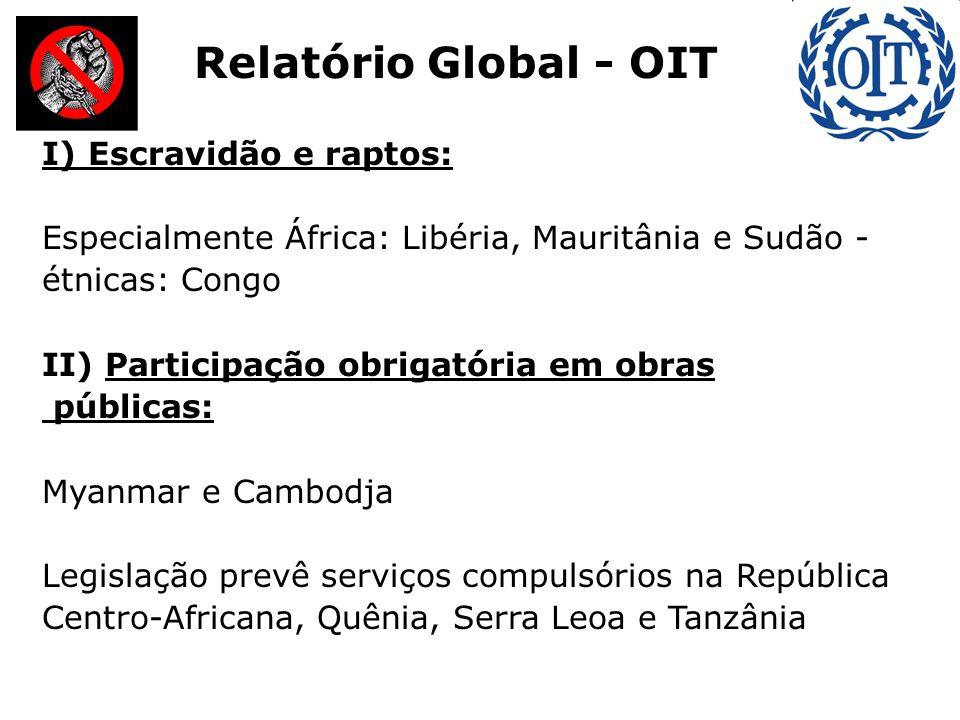 I) Escravidão e raptos: Especialmente África: Libéria, Mauritânia e Sudão - étnicas: Congo II) Participação obrigatória em obras públicas: Myanmar e C