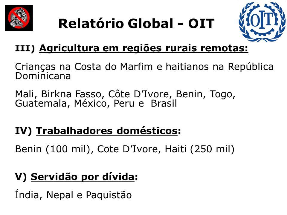 III) Agricultura em regiões rurais remotas: Crianças na Costa do Marfim e haitianos na República Dominicana Mali, Birkna Fasso, Côte D'Ivore, Benin, T