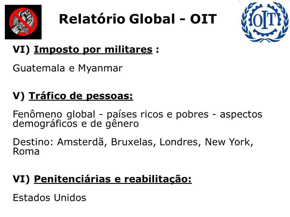 VI) Imposto por militares : Guatemala e Myanmar V) Tráfico de pessoas: Fenômeno global - países ricos e pobres - aspectos demográficos e de gênero Destino: Amsterdã, Bruxelas, Londres, New York, Roma VI) Penitenciárias e reabilitação: Estados Unidos Relatório Global - OIT