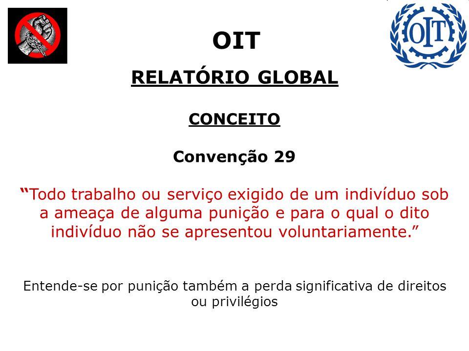 """RELATÓRIO GLOBAL CONCEITO Convenção 29 """"Todo trabalho ou serviço exigido de um indivíduo sob a ameaça de alguma punição e para o qual o dito indivíduo"""