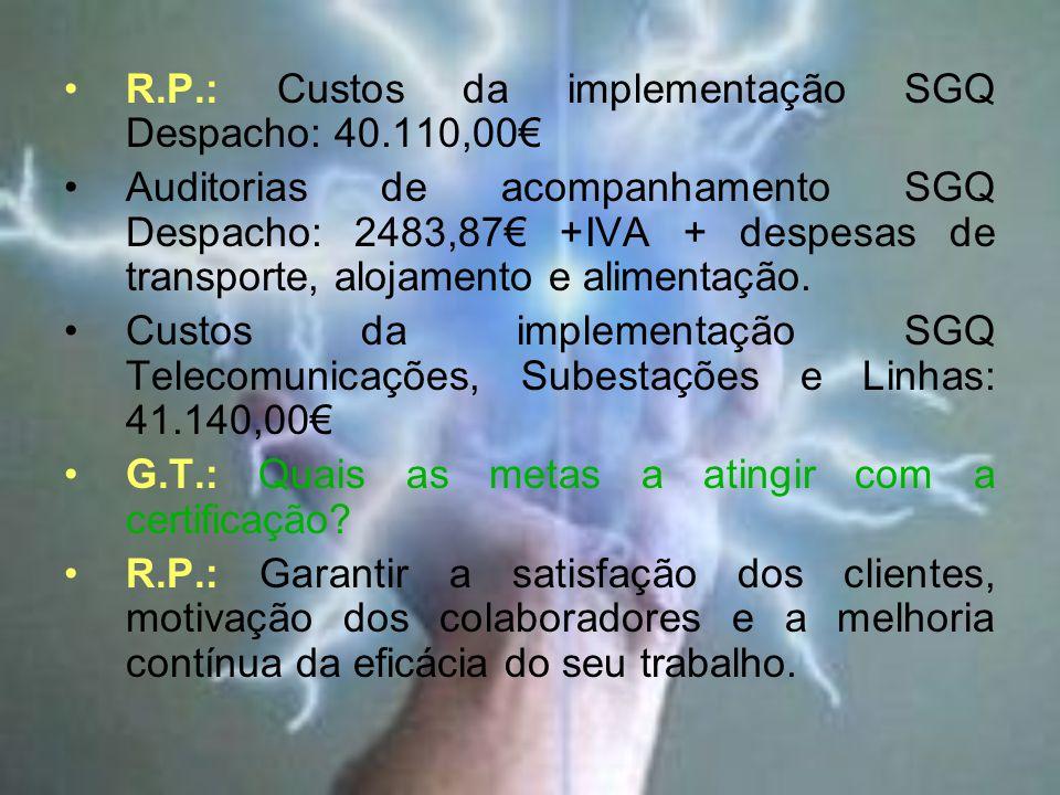 R.P.: Custos da implementação SGQ Despacho: 40.110,00€ Auditorias de acompanhamento SGQ Despacho: 2483,87€ +IVA + despesas de transporte, alojamento e alimentação.
