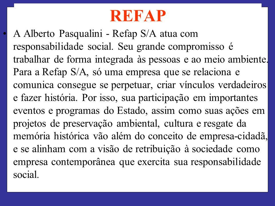 REFAP A Alberto Pasqualini - Refap S/A atua com responsabilidade social. Seu grande compromisso é trabalhar de forma integrada às pessoas e ao meio am