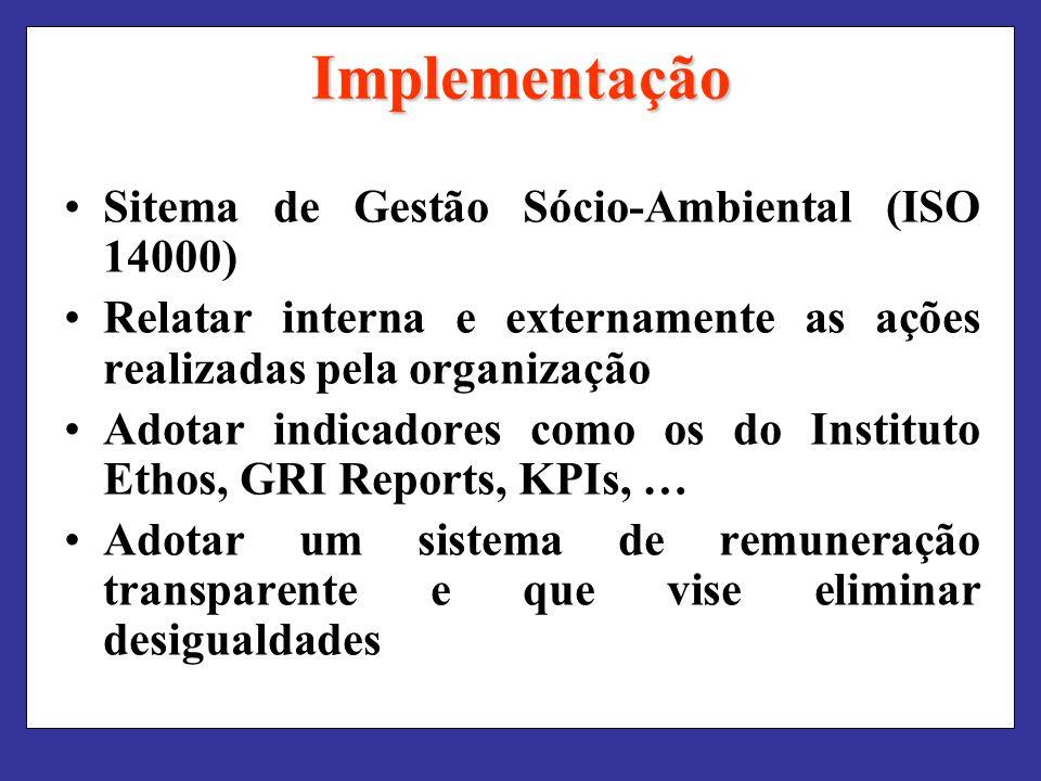 Implementação Sitema de Gestão Sócio-Ambiental (ISO 14000) Relatar interna e externamente as ações realizadas pela organização Adotar indicadores como os do Instituto Ethos, GRI Reports, KPIs, … Adotar um sistema de remuneração transparente e que vise eliminar desigualdades
