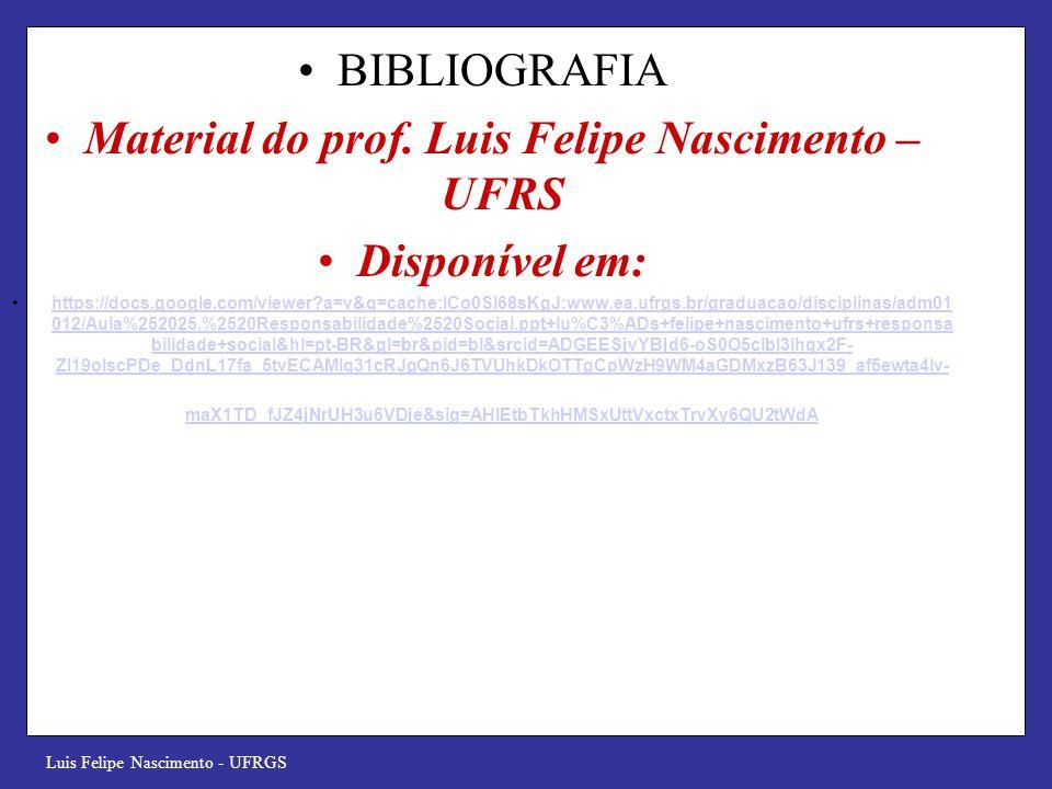 Luis Felipe Nascimento - UFRGS BIBLIOGRAFIA Material do prof. Luis Felipe Nascimento – UFRS Disponível em: https://docs.google.com/viewer?a=v&q=cache: