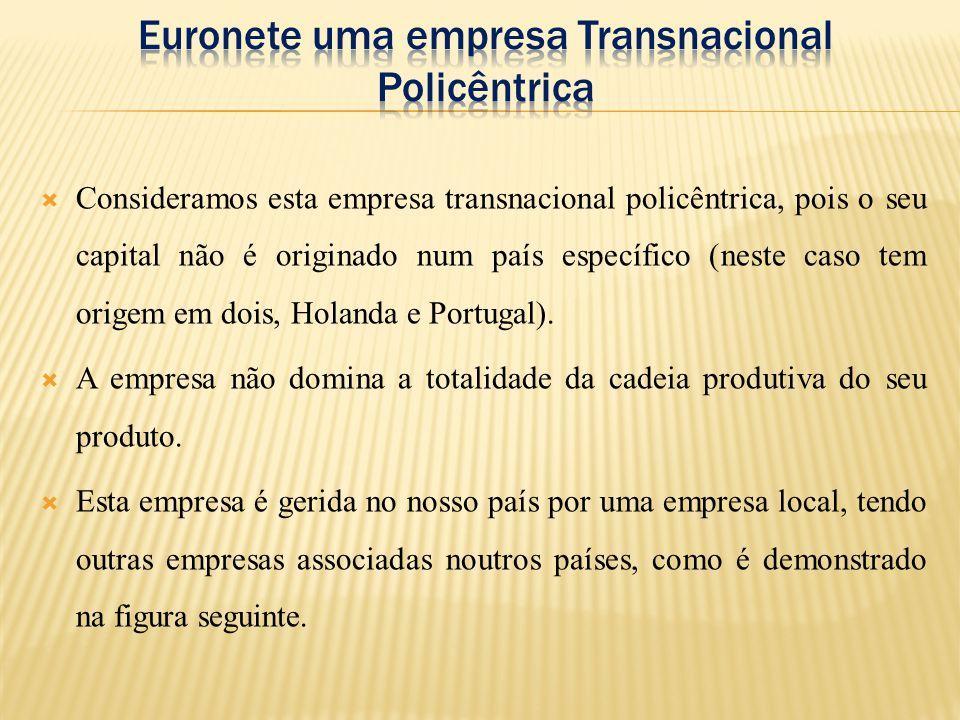  Consideramos esta empresa transnacional policêntrica, pois o seu capital não é originado num país específico (neste caso tem origem em dois, Holanda e Portugal).