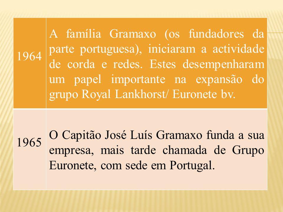1964 A família Gramaxo (os fundadores da parte portuguesa), iniciaram a actividade de corda e redes. Estes desempenharam um papel importante na expans