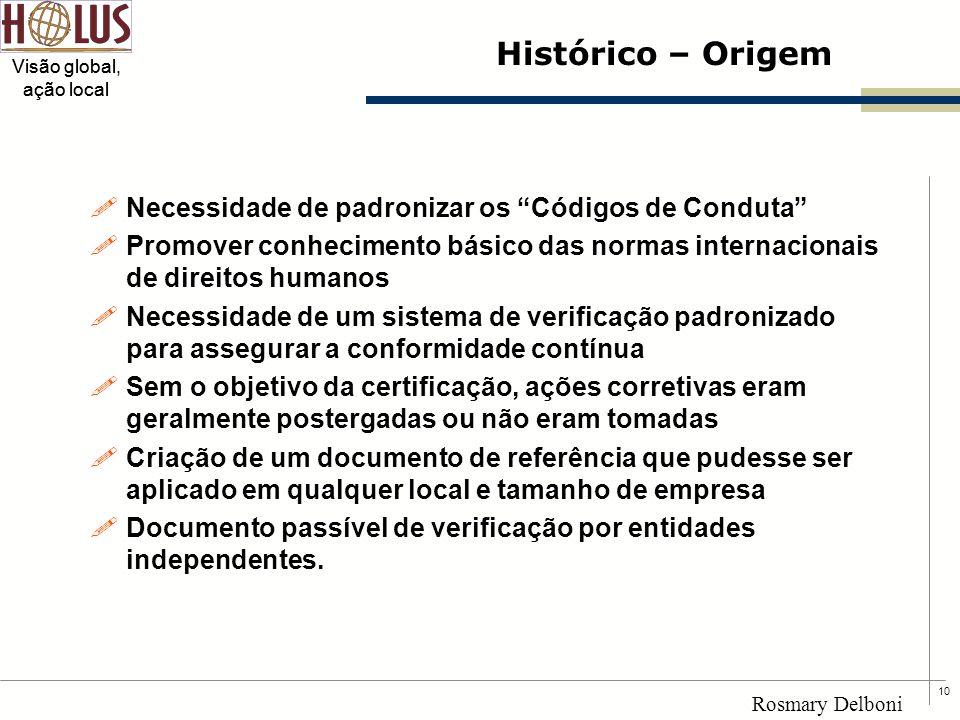 """10 Visão global, ação local Rosmary Delboni Histórico – Origem !Necessidade de padronizar os """"Códigos de Conduta"""" !Promover conhecimento básico das no"""