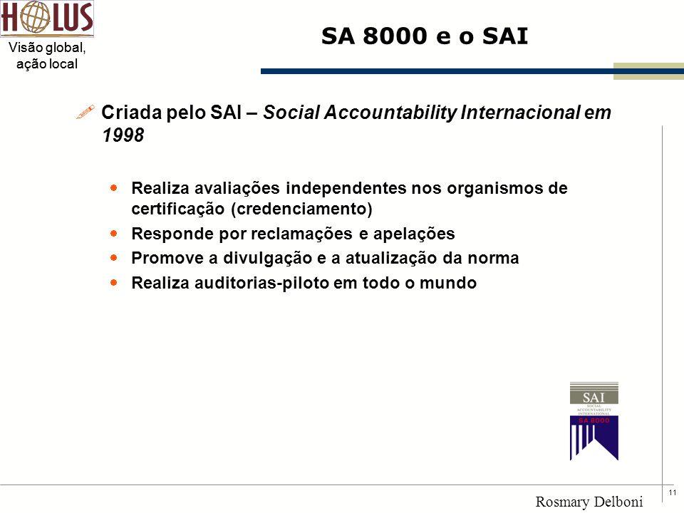 11 Visão global, ação local Rosmary Delboni SA 8000 e o SAI !Criada pelo SAI – Social Accountability Internacional em 1998  Realiza avaliações indepe
