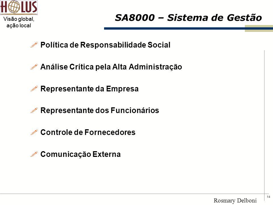 14 Visão global, ação local Rosmary Delboni SA8000 – Sistema de Gestão !Política de Responsabilidade Social !Análise Crítica pela Alta Administração !