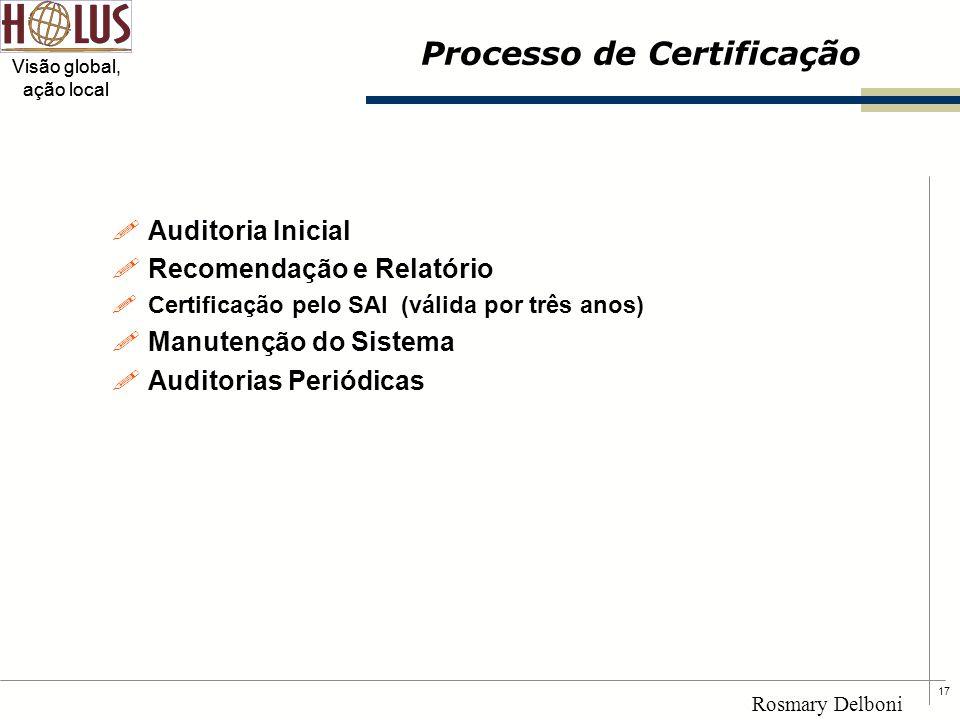 17 Visão global, ação local Rosmary Delboni Processo de Certificação !Auditoria Inicial !Recomendação e Relatório !Certificação pelo SAI (válida por t