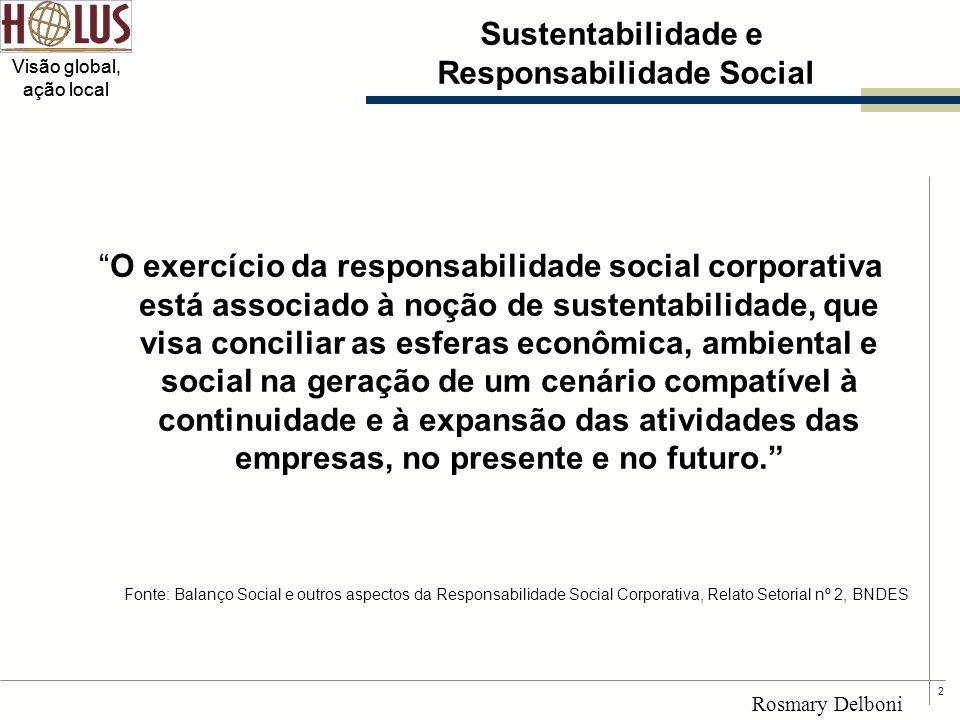 """2 Visão global, ação local Rosmary Delboni Sustentabilidade e Responsabilidade Social """"O exercício da responsabilidade social corporativa está associa"""