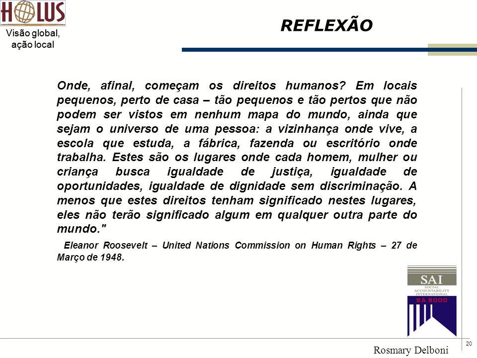 20 Visão global, ação local Rosmary Delboni REFLEXÃO Onde, afinal, começam os direitos humanos? Em locais pequenos, perto de casa – tão pequenos e tão