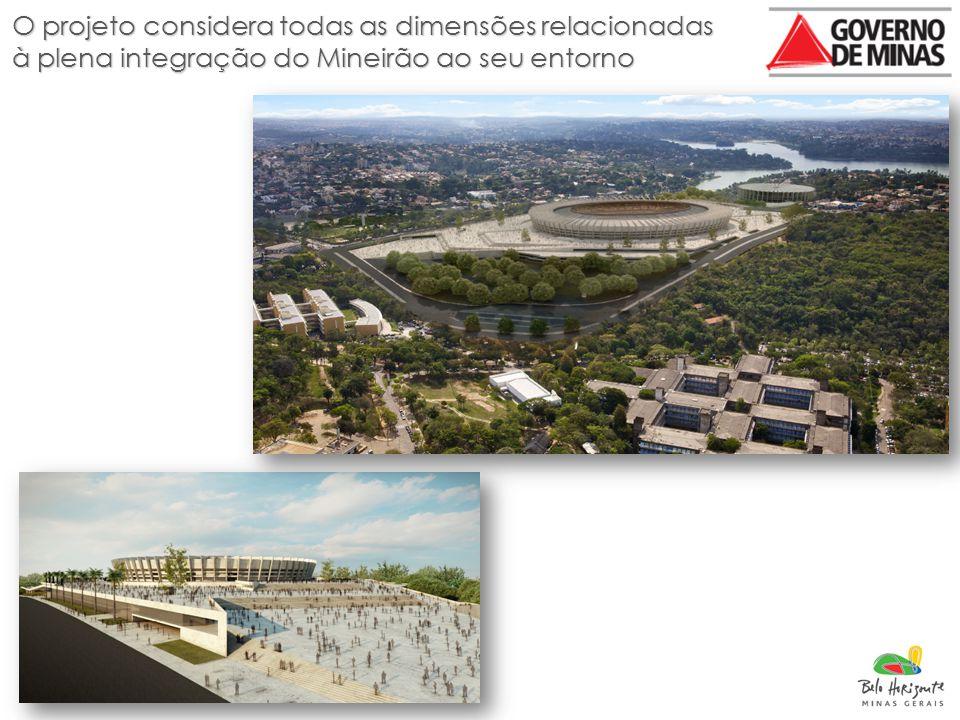 O projeto considera todas as dimensões relacionadas à plena integração do Mineirão ao seu entorno