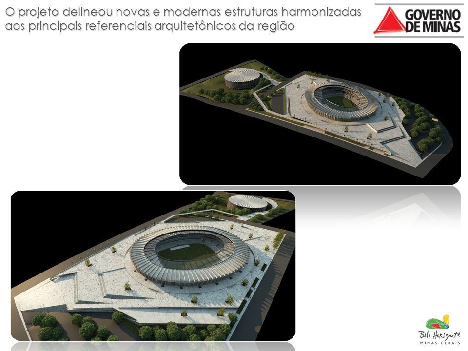 O projeto delineou novas e modernas estruturas harmonizadas aos principais referenciais arquitetônicos da região