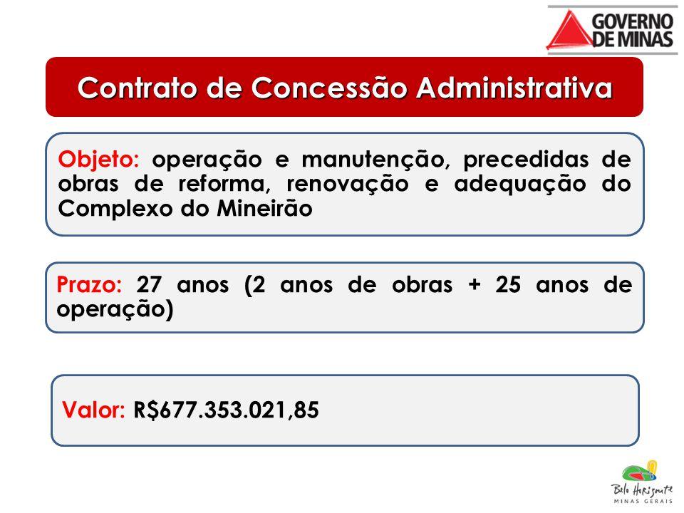 Contrato de Concessão Administrativa Objeto: operação e manutenção, precedidas de obras de reforma, renovação e adequação do Complexo do Mineirão Prazo: 27 anos (2 anos de obras + 25 anos de operação) Valor: R$677.353.021,85