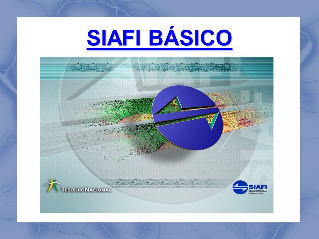 SIAFI BÁSICO - NAVEGAÇÃO Na tela inicial do sistema é solicitado o código do usuário (nº do CPF) e a senha SIAFI.