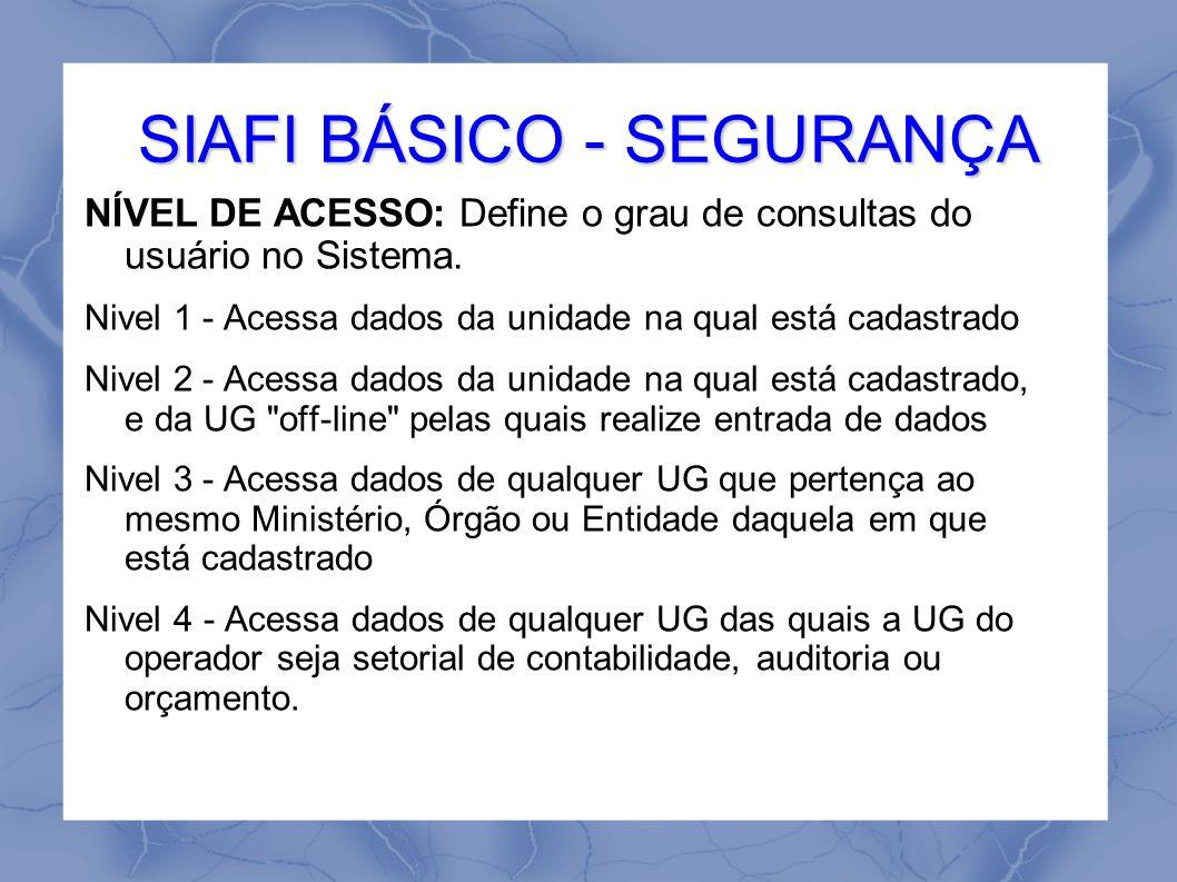SIAFI BÁSICO - SEGURANÇA NÍVEL DE ACESSO: Define o grau de consultas do usuário no Sistema.