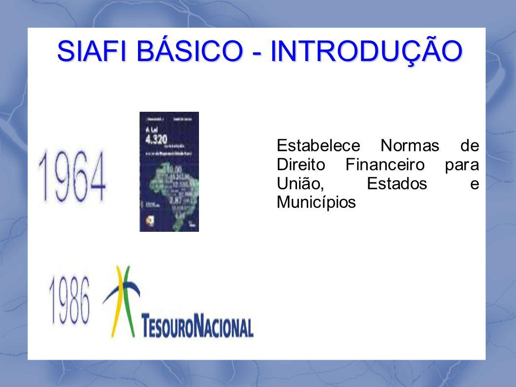 SIAFI BÁSICO - INTRODUÇÃO Estabelece Normas de Direito Financeiro para União, Estados e Municípios