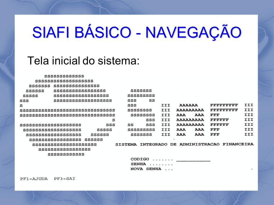 SIAFI BÁSICO - NAVEGAÇÃO Tela inicial do sistema: