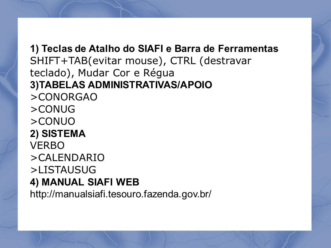 1) Teclas de Atalho do SIAFI e Barra de Ferramentas SHIFT+TAB(evitar mouse), CTRL (destravar teclado), Mudar Cor e Régua 3)TABELAS ADMINISTRATIVAS/APOIO >CONORGAO >CONUG >CONUO 2) SISTEMA VERBO >CALENDARIO >LISTAUSUG 4) MANUAL SIAFI WEB http://manualsiafi.tesouro.fazenda.gov.br/