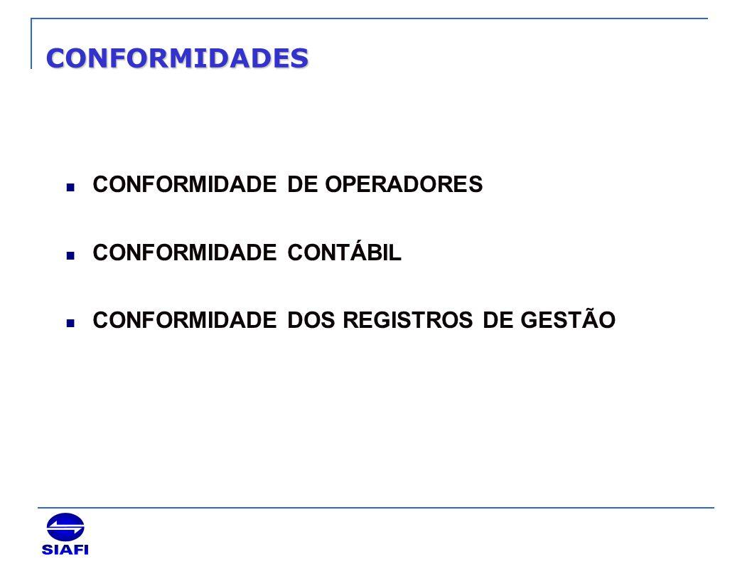 CONFORMIDADES CONFORMIDADE DE OPERADORES CONFORMIDADE CONTÁBIL CONFORMIDADE DOS REGISTROS DE GESTÃO